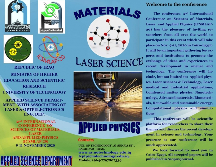 2nd  INTERNATIONAL  CONFERENCE  ON  SCIENCES OF MATERIALS, LASER  SCIENCE AND APPLIED PHYSICS (ICSMLAP-20)